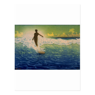 Surfer riding wave, Hawaii Postcard