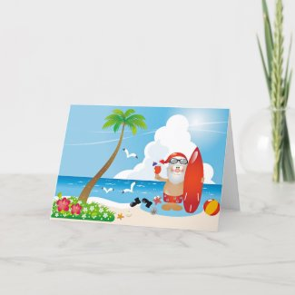 surfer santa claus holiday card