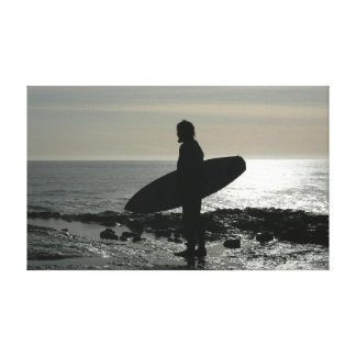 surfer silhouette 2 stretched canvas print