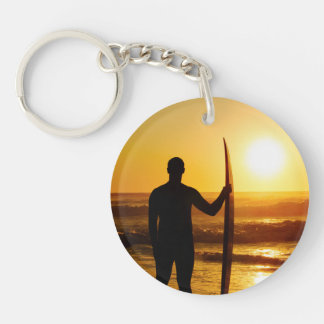 Surfer Silhouette at Sunset Double-Sided Round Acrylic Keychain
