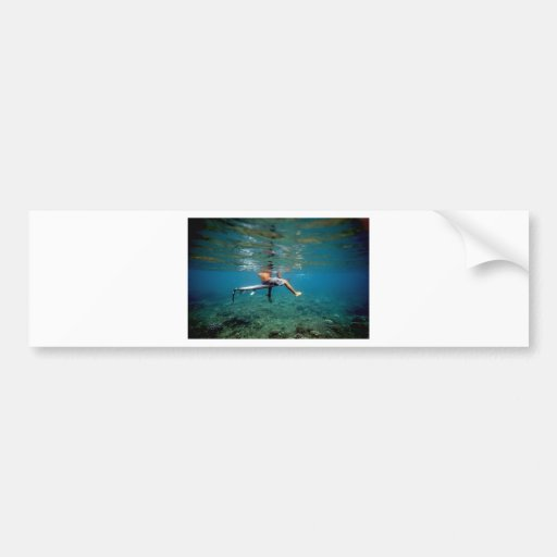 Surfer sitting on surfboard over coral reef bumper stickers