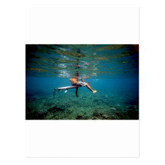 Surfer sitting on surfboard over coral reef postcard