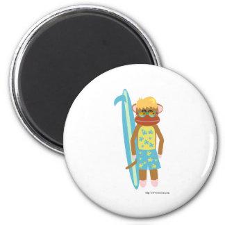 Surfer Sock Monkey Boy 2 Inch Round Magnet