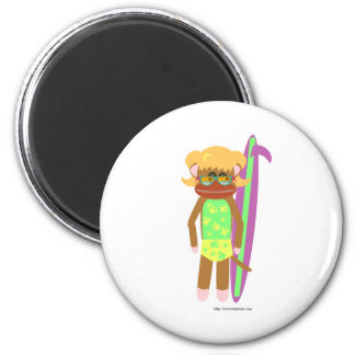 Surfer Sock Monkey Girl Fridge Magnet