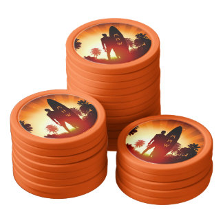 Surfer Sunset custom monogram poker chips
