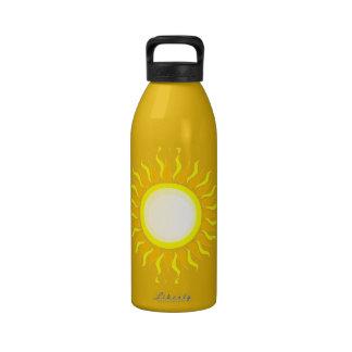 SURFER SUNSHINE 001 YELLOW ORANGE ARTSY GRAPHIC LO DRINKING BOTTLES