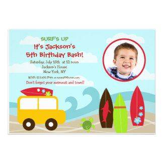 Surfer Surf Photo Birthday Party invitations