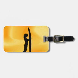 surfer surf sea wave sport beach girl tags for luggage