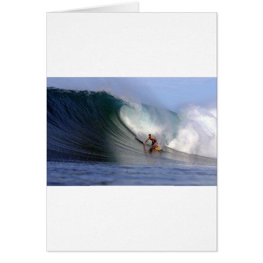 Surfer surfing huge tropical island surfing wave card