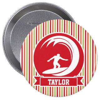 Surfer, Surfing; Red, Orange, Green, White Stripes Pins