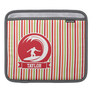Surfer, Surfing; Red, Orange, Green, White Stripes Sleeves For iPads