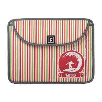 Surfer, Surfing; Red, Orange, Green, White Stripes Sleeve For MacBook Pro