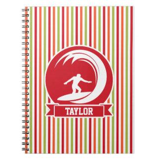 Surfer, Surfing; Red, Orange, Green, White Stripes Notebook