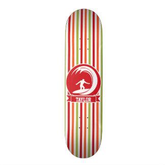 Surfer, Surfing; Red, Orange, Green, White Stripes Skate Board Deck