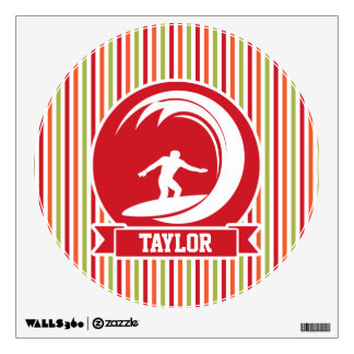 Surfer, Surfing; Red, Orange, Green, White Stripes Wall Decal