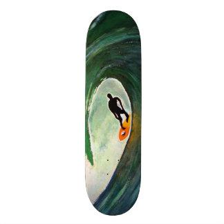 Surfer Surfing Silhouette Skate Board Deck Design