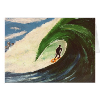 Surfer Surfing Tuberide painting greeting card art