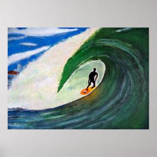Surfer Surfing Tuberide wall of ocean water poster