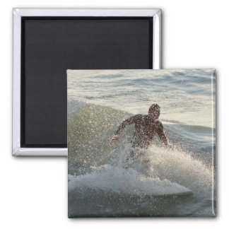Surfer through wave spray 2 inch square magnet