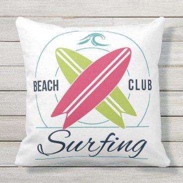 Beach Themed Surfer throw pillows