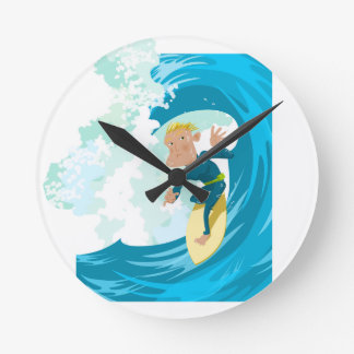 Surfer under a wave tunnel round wall clock