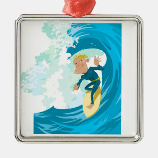 Surfer under a wave tunnel metal ornament