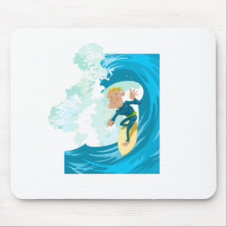 Surfer under a wave tunnel mouse pad