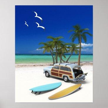 Art Themed Surfer Wagon Poster