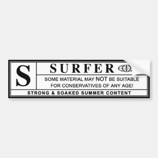 surfer warning label bumper stickers