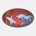Surfer waves artistic beach scene stickers