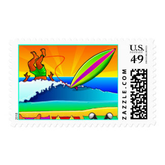 Surfer Wipeout Surfing Colorful Vacation Stamps