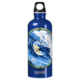 Surfer With Bamboo Frame Aluminum Water Bottle