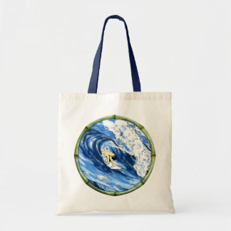 Surfer With Bamboo Frame Tote Bags
