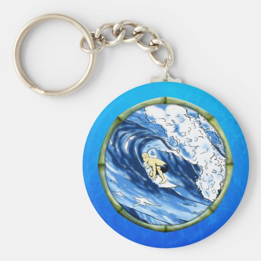 Surfer With Bamboo Frame Basic Round Button Keychain