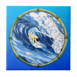 Surfer With Bamboo Frame Ceramic Tile