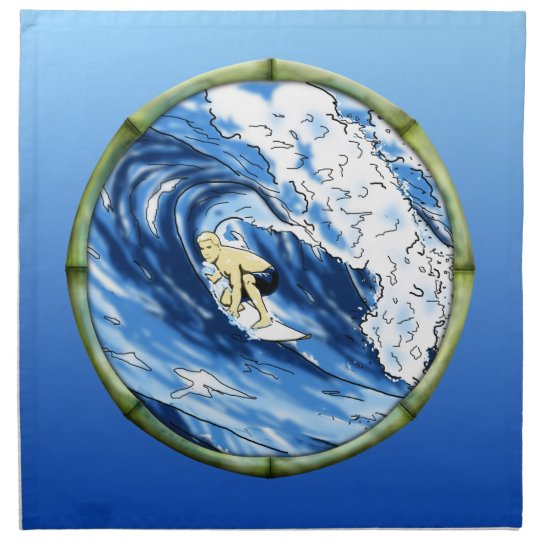 Surfer With Bamboo Frame Cloth Napkin