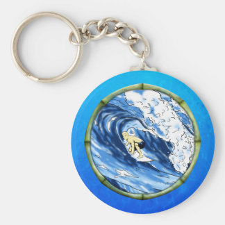 Surfer With Bamboo Frame Keychain
