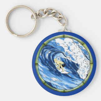 Surfer With Bamboo Frame Keychains