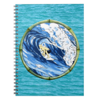 Surfer With Bamboo Frame Notebook
