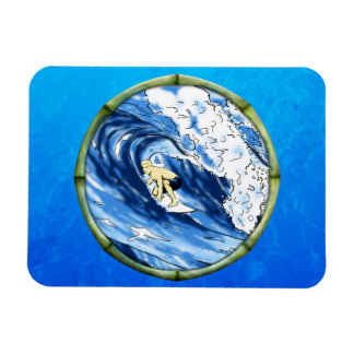 Surfer With Bamboo Frame Rectangular Photo Magnet