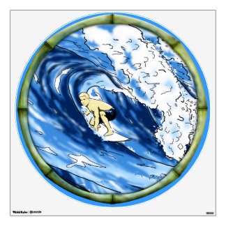 Surfer With Bamboo Frame Wall Graphics