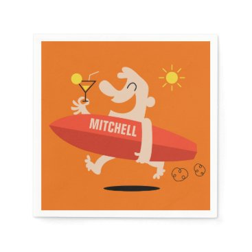 Beach Themed Surfer with Cocktail custom name paper napkins