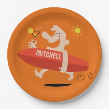 Beach Themed Surfer with Cocktail custom name paper plates