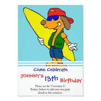 Surfer with hat and sunglasses card