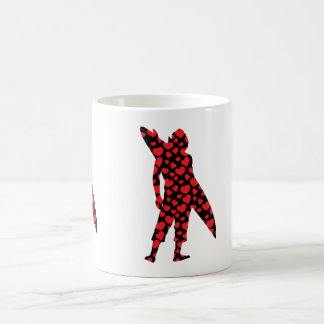 Surfer with heart collage fill design classic white coffee mug