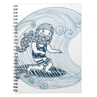 Surfer with long beard spiral notebook