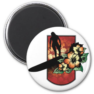 Surfer with tropical flower design 2 inch round magnet