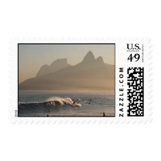 """""""Surfers at Arpoador, Rio de Janeiro"""" Postage Stamp"""
