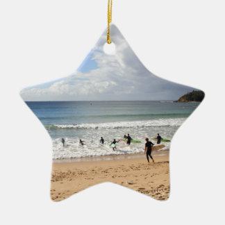 Surfers At Manly Beach, Australia Ceramic Ornament