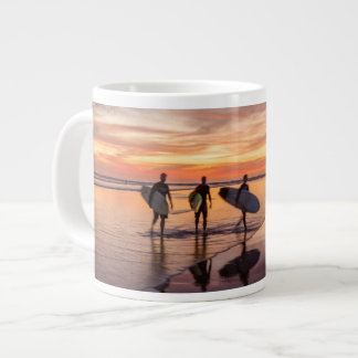 Surfers At Sunset Walking On Beach, Costa Rica Large Coffee Mug